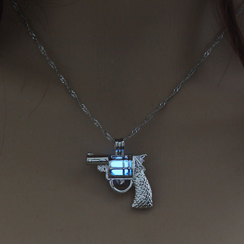 Blue Glow in the Dark Vintage Gun Pendant Necklace