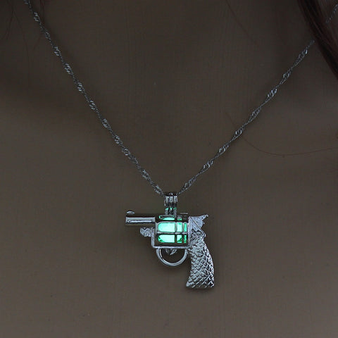 Image of Green Glow in the Dark Vintage Gun Pendant Necklace