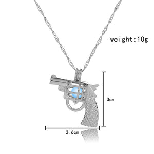 Light Blue Glow in the Dark Vintage Gun Pendant Necklace