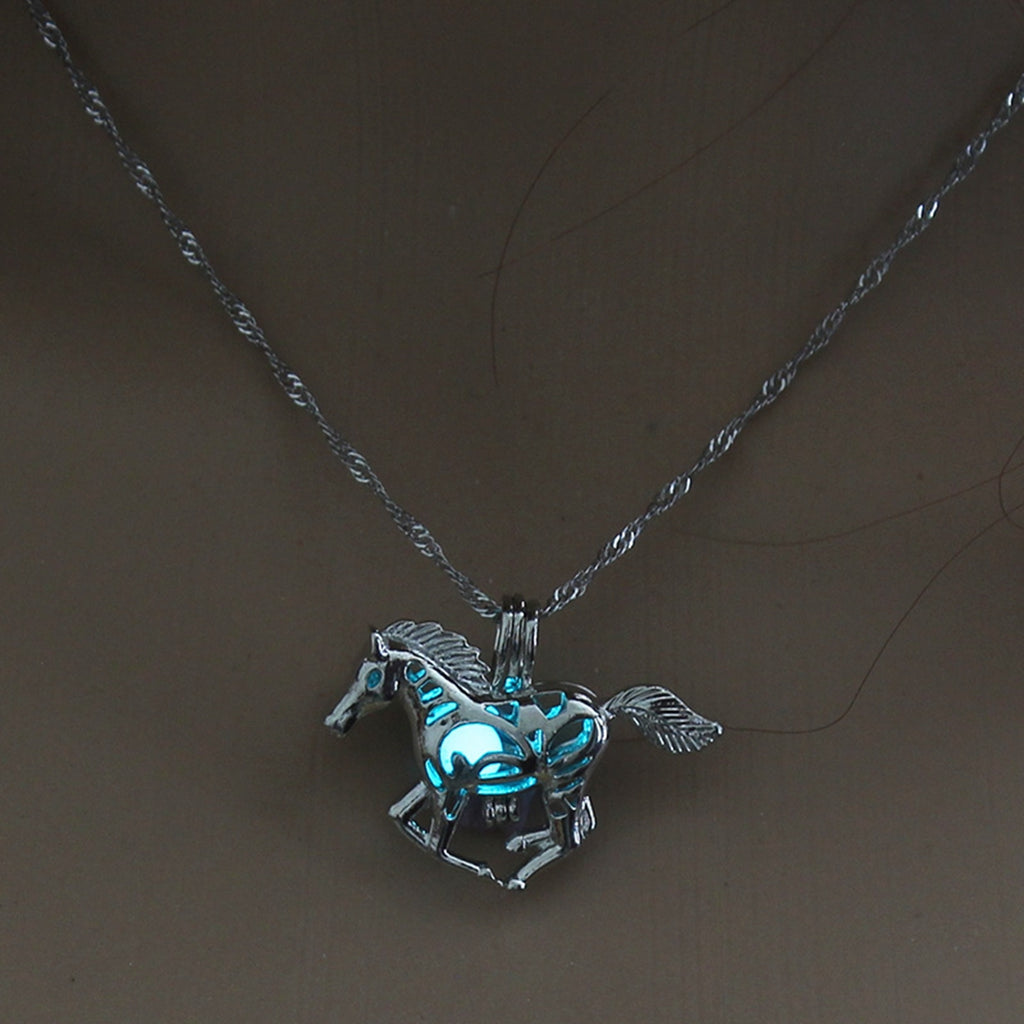 Light Blue Glow in the Dark Running Horse Pendant Necklace