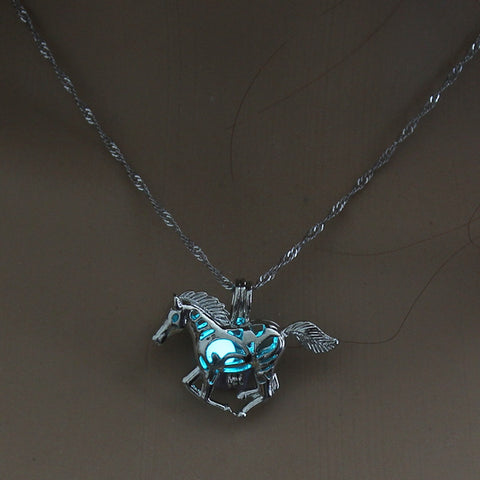 Image of Light Blue Glow in the Dark Running Horse Pendant Necklace