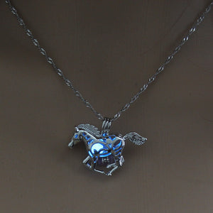 Blue Glow in the Dark Running Horse Pendant Necklace