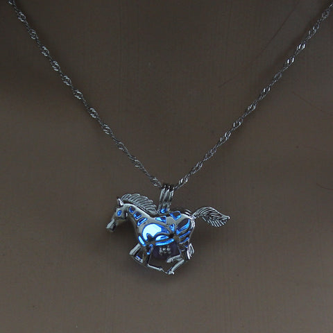 Image of Blue Glow in the Dark Running Horse Pendant Necklace