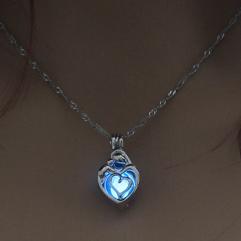 Image of Blue Glow In The Dark Hollow Heart Shape Pendant Necklace