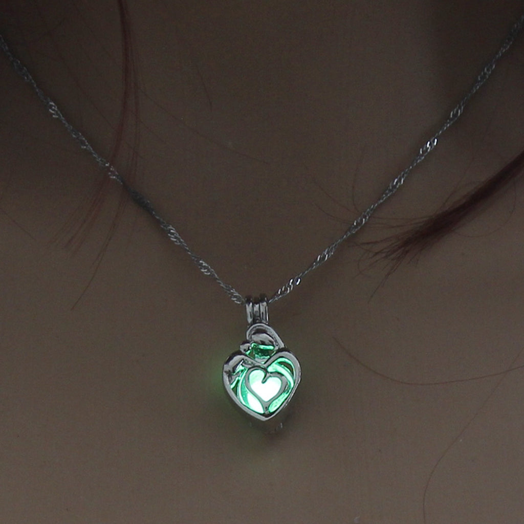 Green Glow In The Dark Hollow Heart Shape Pendant Necklace