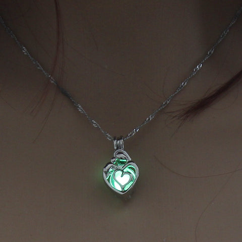 Image of Green Glow In The Dark Hollow Heart Shape Pendant Necklace