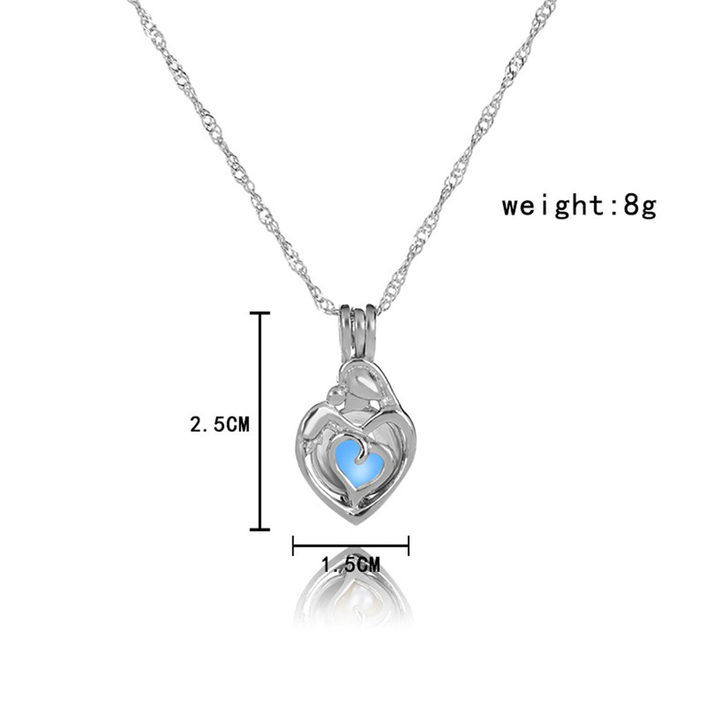 Blue Glow In The Dark Hollow Heart Shape Pendant Necklace
