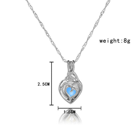 Image of Light Blue Glow In The Dark Hollow Heart Shape Pendant Necklace