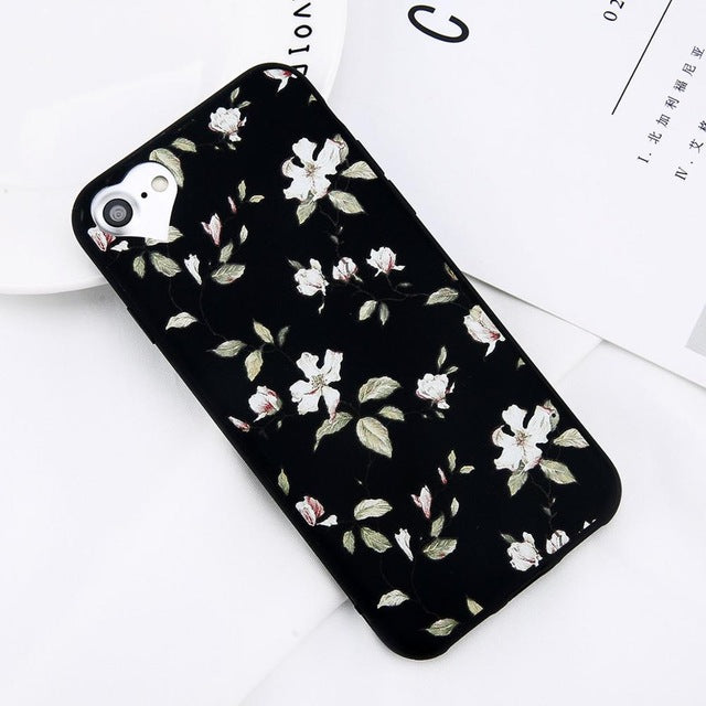 Apple iPhone 8 Plus Beautiful Flower Soft TPU Slim Cell Phone Case Cover