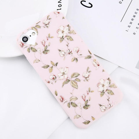 Image of Apple iPhone 8 Plus Beautiful Flower Soft TPU Slim Cell Phone Case Cover