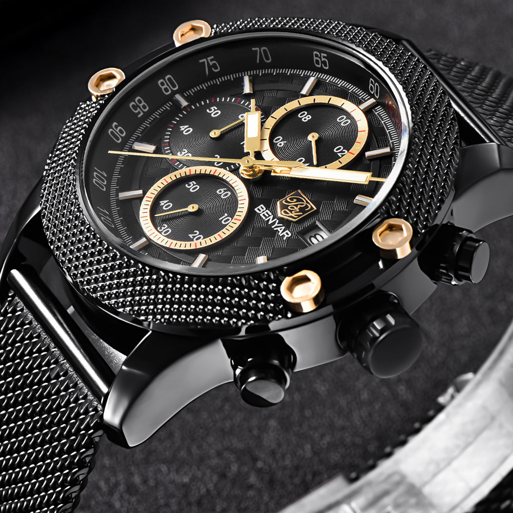 Black Gold Sport Chronograph Watch Mesh Stainless Steel Quartz Movement