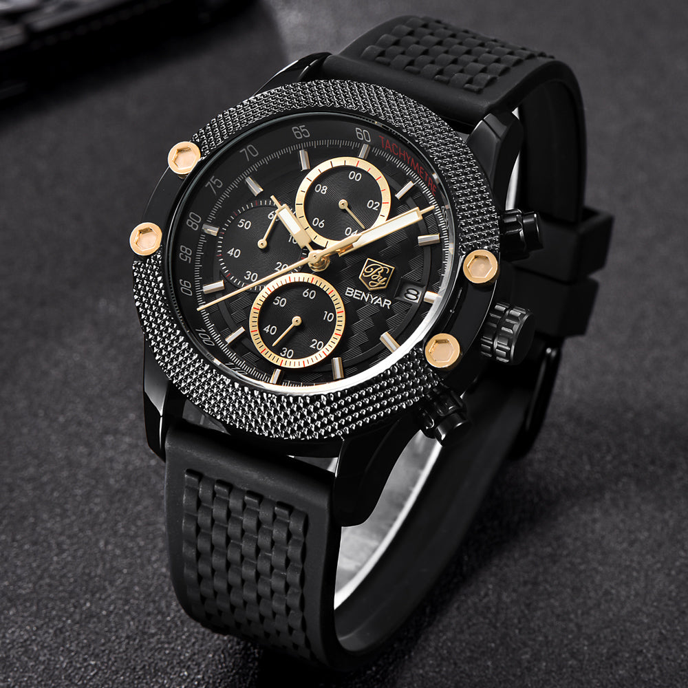 Black Gold Sport Chronograph Watch Mesh Rubber Quartz Movement