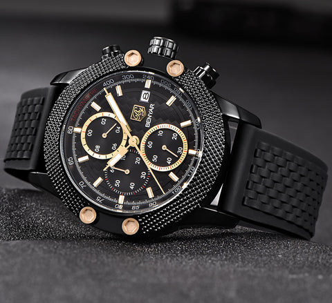 Image of Black Gold Sport Chronograph Watch Mesh Rubber Quartz Movement