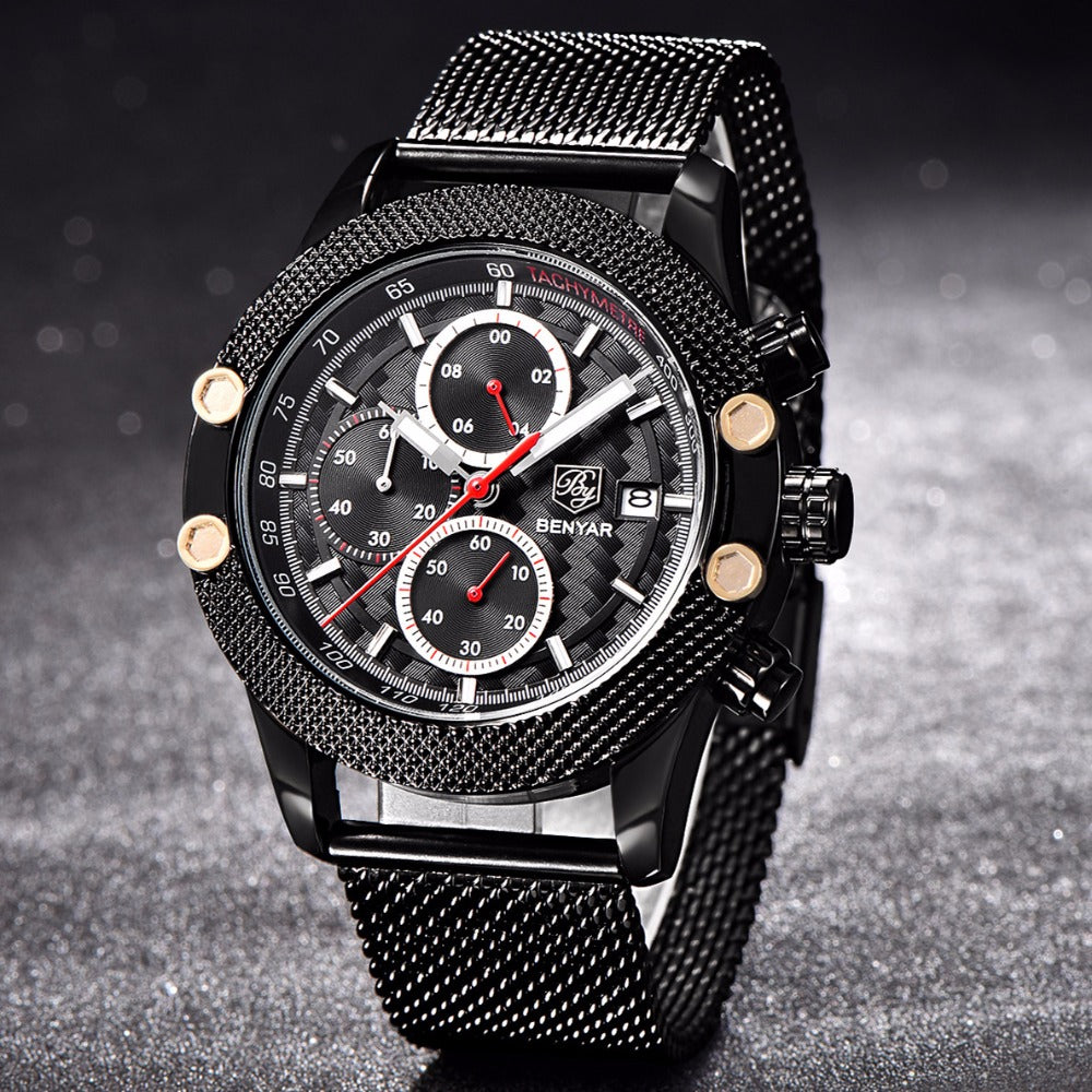 Black Red Sport Chronograph Watch Mesh Stainless Steel Quartz Movement