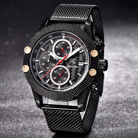 Image of Black Red Sport Chronograph Watch Mesh Stainless Steel Quartz Movement