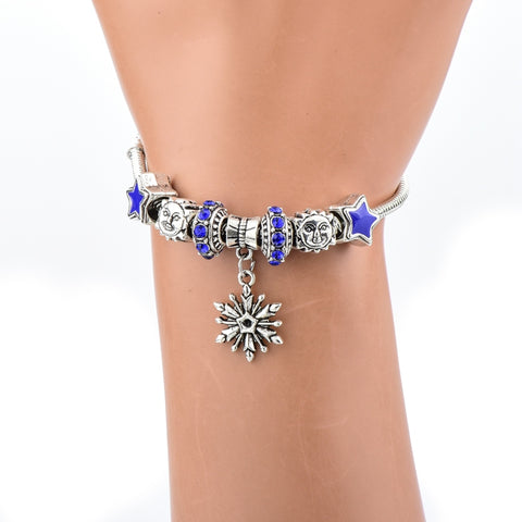 Image of Blue Crystal Silver Star Charm Bracelet