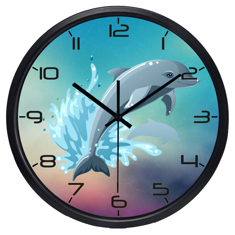 Cartoon Diving Dolphin High Definition Print Black Frame Quartz Wall Clock