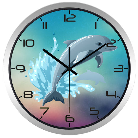 Image of Cartoon Diving Dolphin High Definition Print Silver Frame Quartz Wall Clock
