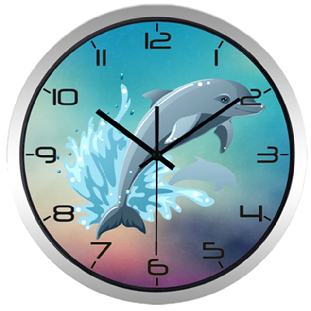 Cartoon Diving Dolphin High Definition Print Silver Frame Quartz Wall Clock