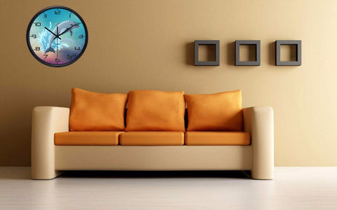 Image of Cartoon Diving Dolphin High Definition Print Black Frame Quartz Wall Clock