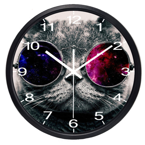 Image of Funny Cat High Definition Print Black Frame Quartz Wall Clock