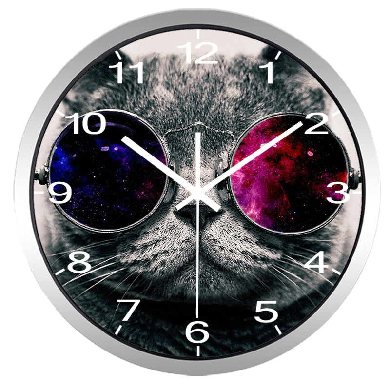 Funny Cat High Definition Print Silver Frame Quartz Wall Clock