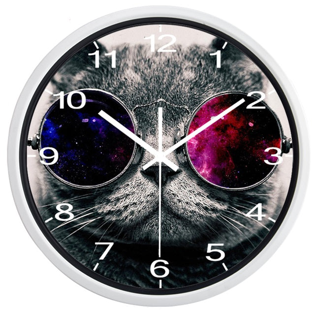 Funny Cat High Definition Print White Frame Quartz Wall Clock