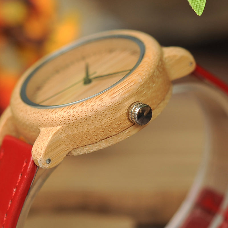 Handmade Natural Bamboo Wood Watch Red Genuine Leather Band