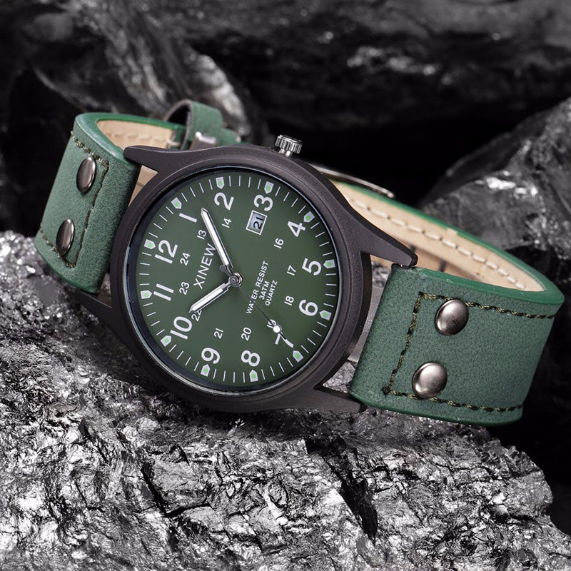 Green Sport Classic Watch Genuine Leather Band