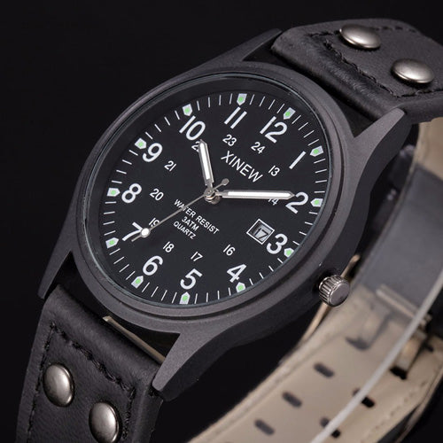 Black Sport Classic Watch Genuine Leather Band