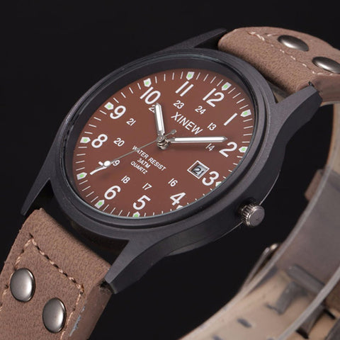 Image of Coffee Color Sport Classic Watch Genuine Leather Band