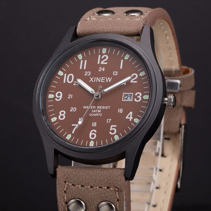 Coffee Color Sport Classic Watch Genuine Leather Band