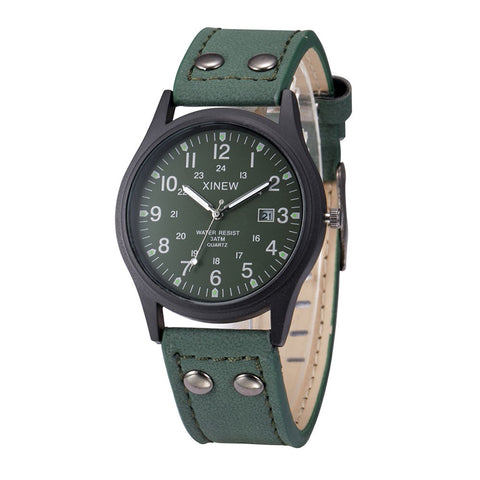 Image of Green Sport Classic Watch Genuine Leather Band