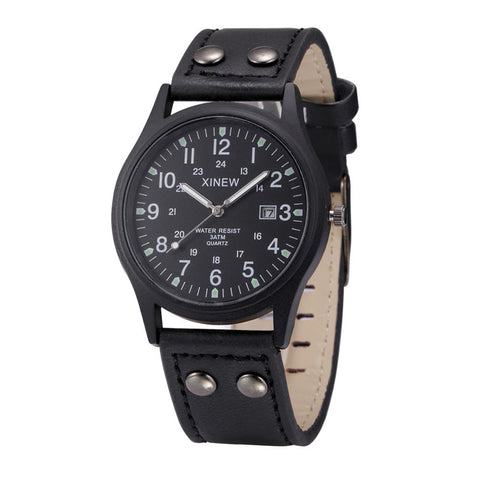 Image of Black Sport Classic Watch Genuine Leather Band