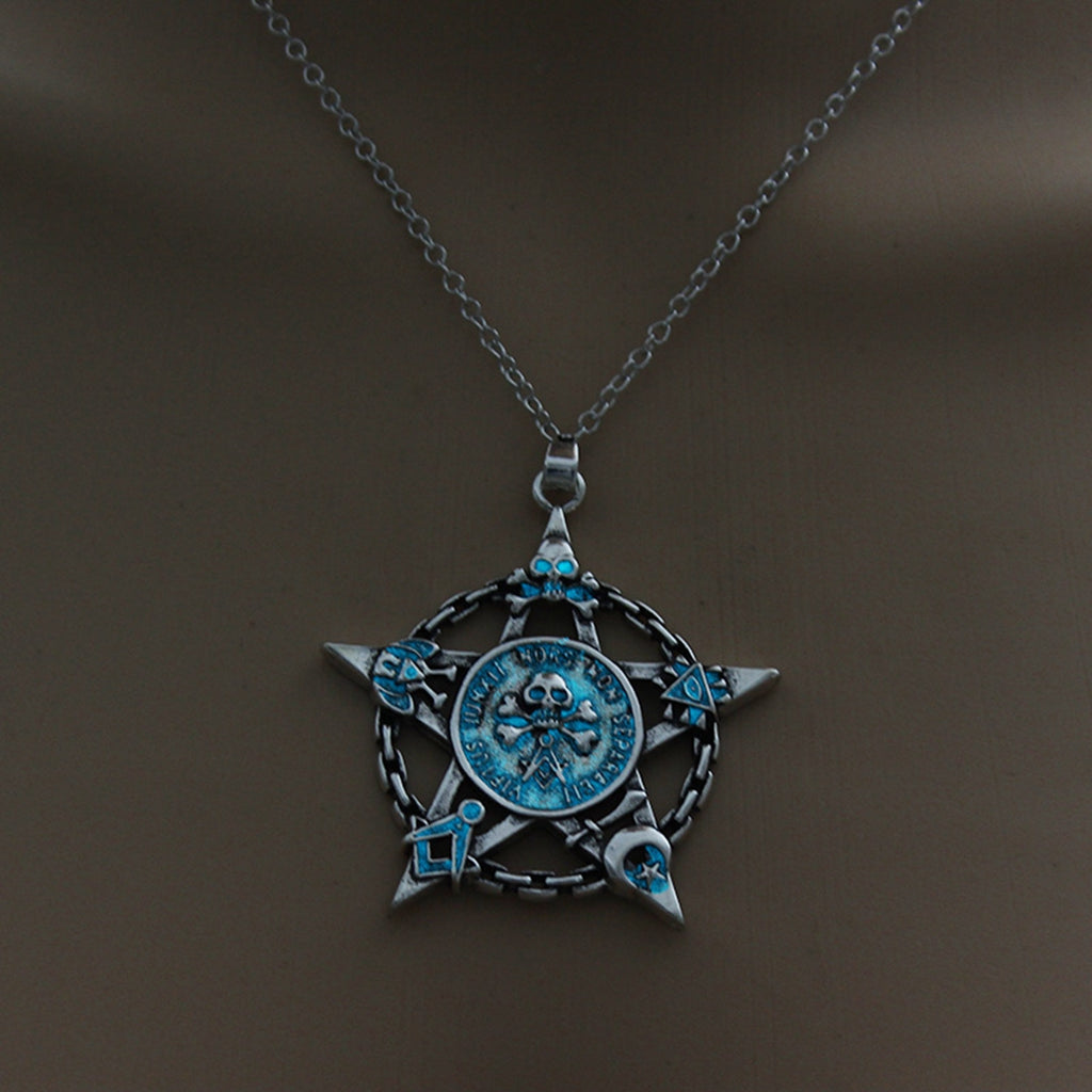 Light Blue Glow in the Dark Star Skull Pendant Necklace
