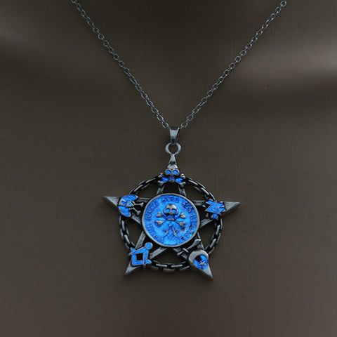 Blue Glow in the Dark Star Skull Pendant Necklace