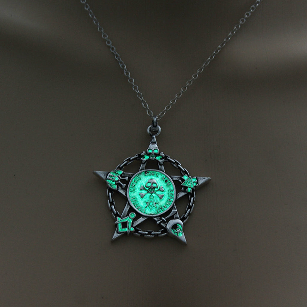 Green Glow in the Dark Star Skull Pendant Necklace