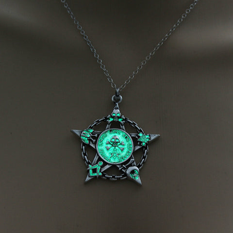 Image of Green Glow in the Dark Star Skull Pendant Necklace