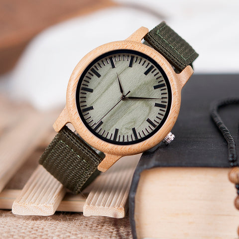 Image of Handmade Natural Bamboo Wood Watch Green Dial Nylon Strap