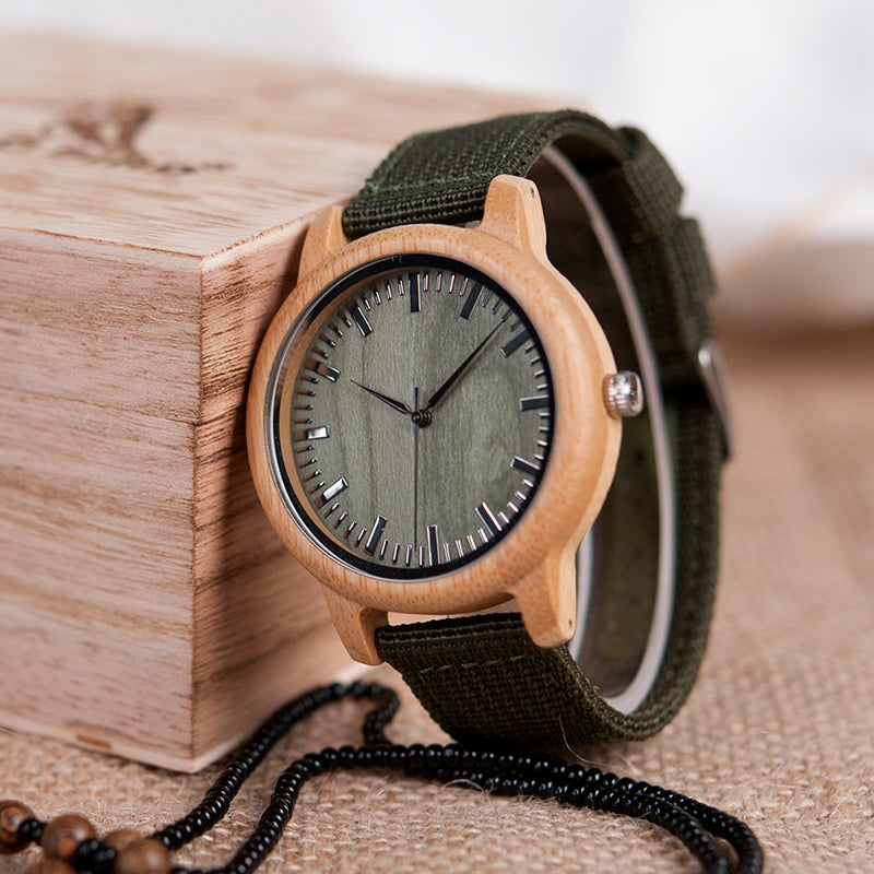 Handmade Natural Bamboo Wood Watch Green Dial Nylon Strap