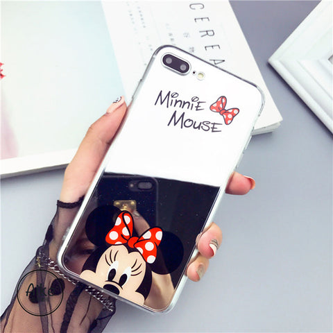 Image of Apple iPhone 5 and 5S Mickey Minnie Mirror Cover Soft TPU Cell Phone Case Cover