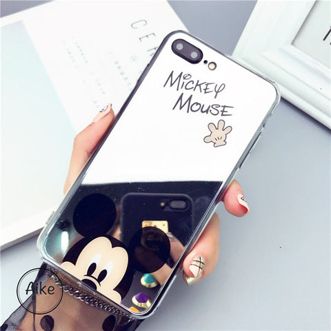 Image of Apple iPhone 6 and 6S Mickey Minnie Mirror Cover Soft TPU Cell Phone Case Cover
