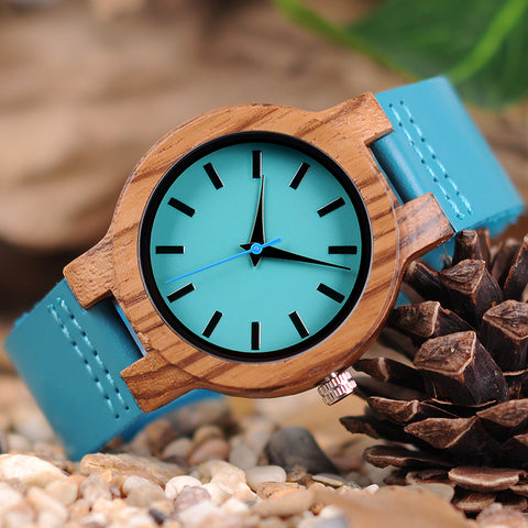 Handmade Natural Bamboo Wooden Watch Light Blue Genuine Leather Strap