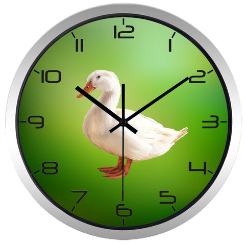 Realistic Duck High Definition Print Silver Frame Quartz Wall Clock
