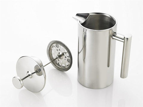 Image of Stainless Steel French Press Coffee Tea Pot with Filter Double Wall