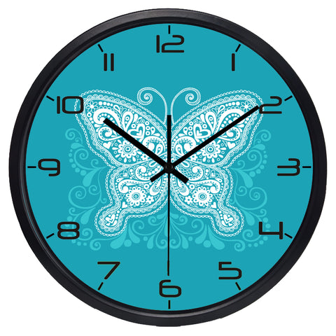 Image of Modern Butterfly High Definition Print Black Frame Quartz Wall Clock