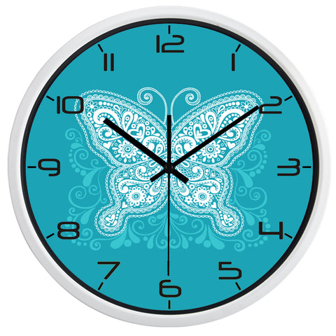 Image of Modern Butterfly High Definition Print White Frame Quartz Wall Clock