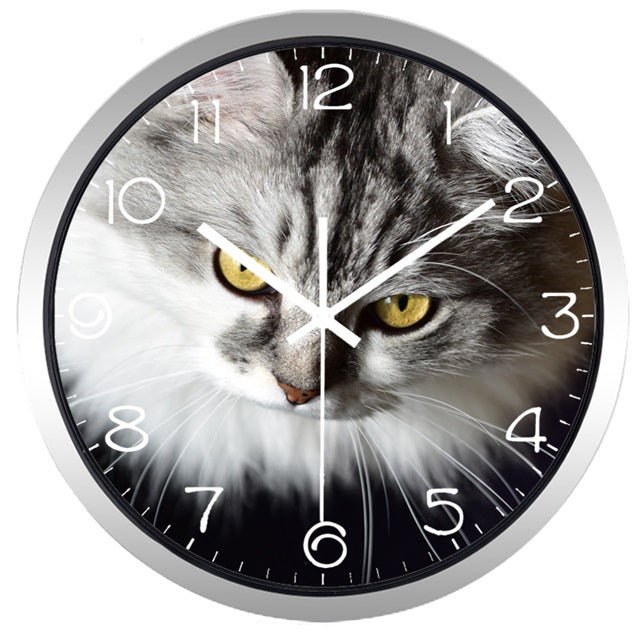 Cat Gazing High Definition Print Silver Frame Quartz Wall Clock