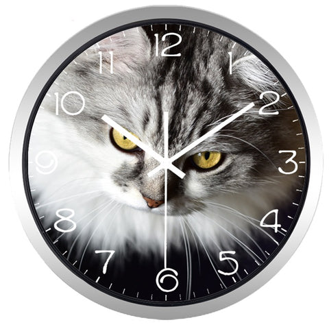 Image of Cat Gazing High Definition Print Silver Frame Quartz Wall Clock