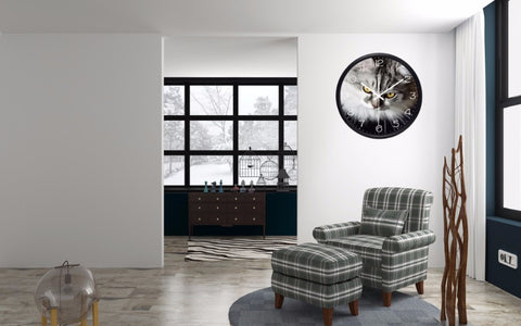 Image of Cat Gazing High Definition Print Black Frame Quartz Wall Clock